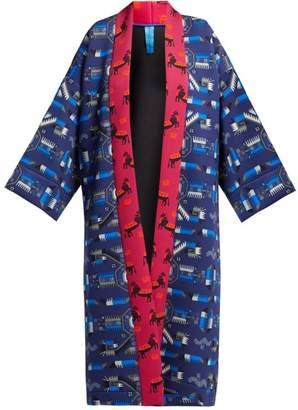 Rianna + Nina - Greek Print Neoprene Kimono Jacket - Womens - Navy Multi