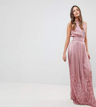 Little Mistress Tall Ruffle High Neck Maxi Dress With Lace Pleated Skirt