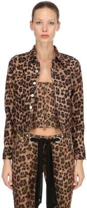Miaou Leopard Print Cotton Denim Jacket