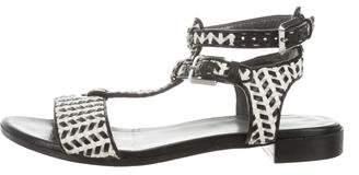Stuart Weitzman Woven T-Strap Sandals