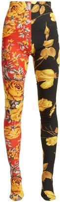 RICHARD QUINN Contrast-panel floral-print leggings