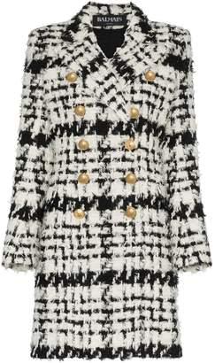 Balmain double breasted tweed wool mohair alpaca blend coat