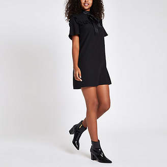 River Island Womens Black bowtie short sleeve swing dress