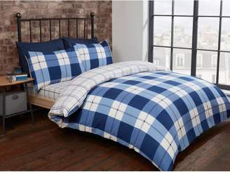 Very Cascade Home Brushed 100% Cotton Check Duvet Cover Set
