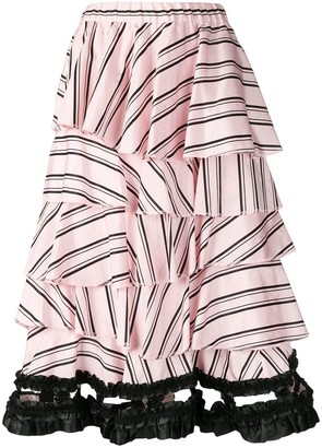 Comme des Garcons Pre-Owned layered striped skirt