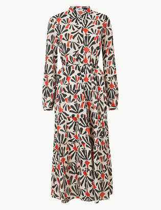 Marks and Spencer Tiered Floral Print Maxi Shirt Dress