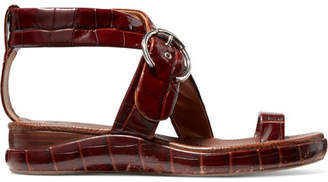 Chloé Wave Croc-effect Leather Platform Sandals - Dark brown