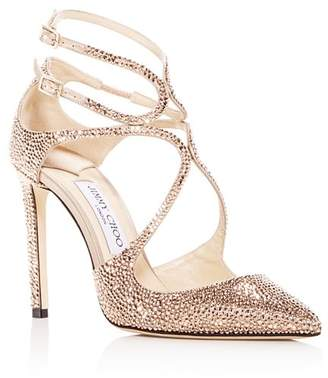 Jimmy Choo Women's Lancer 100 Crystal & Satin Pointed Toe Pumps