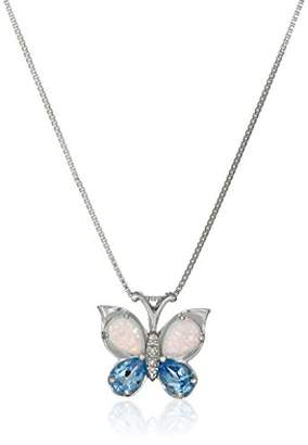 Sterling Silver Swiss Blue Topaz and Created Opal Butterfly Pendant Necklace