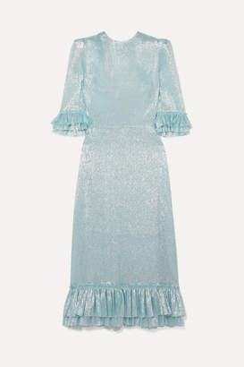 The Vampire's Wife Falconetti Ruffled Silk-blend Lame Dress - Blue