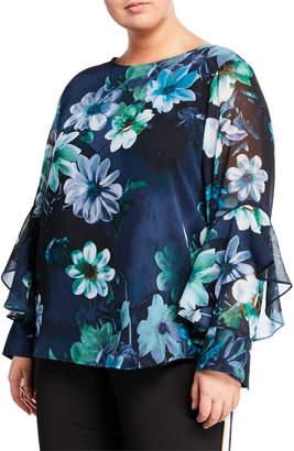 Iconic American Designer Floral-Print Chiffon Flowy Blouse, Plus Size