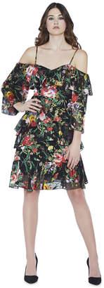 Alice + Olivia Florentina Cold Shoulder Ruffle Dress