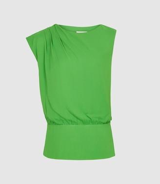 Reiss Roberta - Pleat Detailed Sleeveless Top in Green