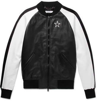Givenchy Satin-Panelled Leather Bomber Jacket