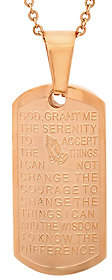Steel by Design Stainless Steel Dog Tag Serenity Prayer Pendant