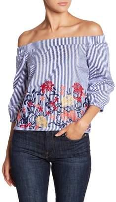Romeo & Juliet Couture Floral Stripe Off Shoulder Top