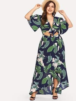 Shein Plus Knot Front Cutout Midriff Tropical Dress
