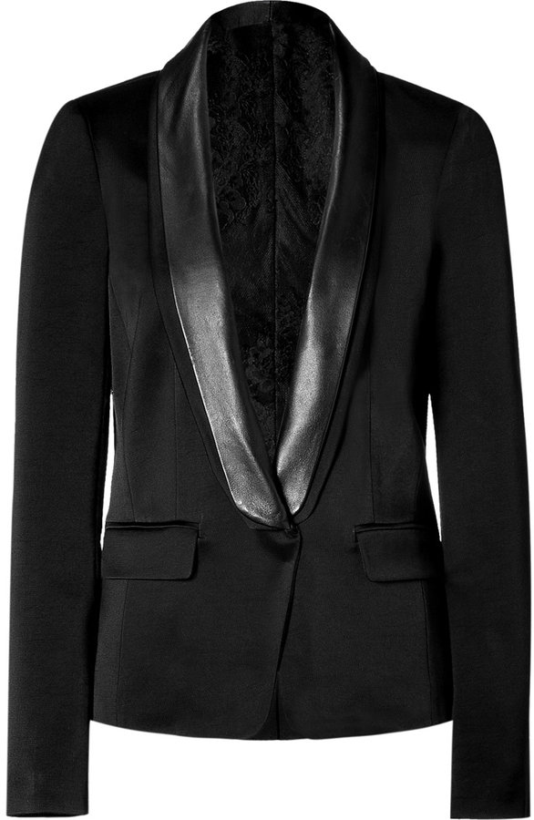 Tibi Black tuxedo jacket with leather trim
