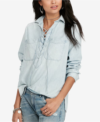 Denim & Supply Ralph Lauren Cotton Lace-Up Chambray Shirt $145 thestylecure.com