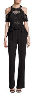 Thurley Empire Secret Garden Silk Cold-Shoulder Jumpsuit