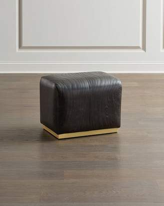 Global Views Forest Leather Faux Bois Ottoman