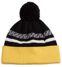 Fendi FF Stripe Knit Pom Pom Wool Beanie