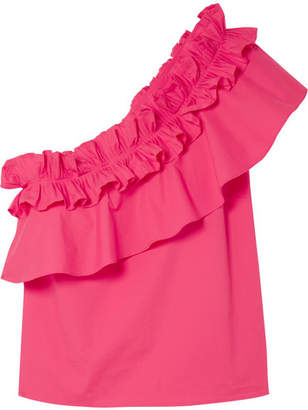 Saloni Esme One-shoulder Ruffled Stretch-cotton Poplin Top - Pink
