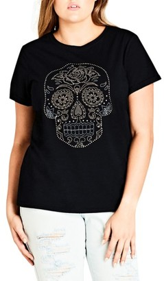 Plus Size Women's City Chic Skull Embellished Tee $39 thestylecure.com