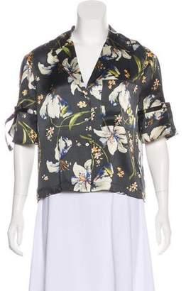 Cinq à Sept Floral Silk Short Sleeve Top