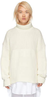Jil Sander White Chunky Oversized Turtleneck