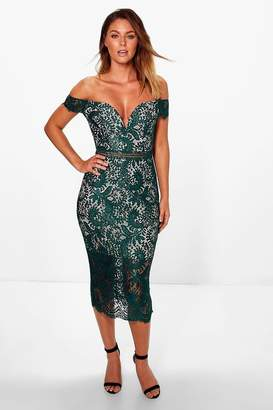 boohoo Boutique Bea Off Shoulder Lace Midi Dress