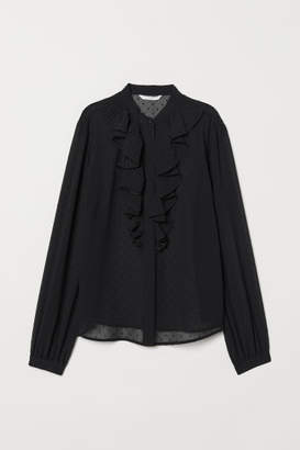 H&M Airy Blouse with Flounce - Black