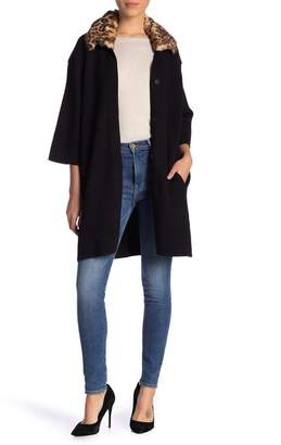 Catherine Malandrino Faux Fur Sweater Coat (Petite)