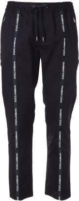 Dolce & Gabbana Contrast Logo Strap Trousers