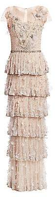Marchesa Women's Embellished Tulle Tiered Gown