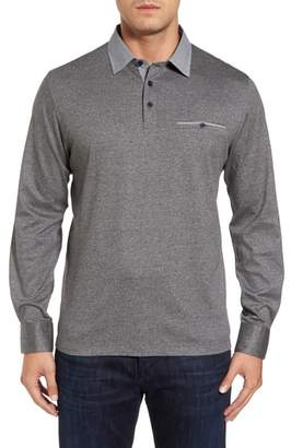 Thomas Dean Long Sleeve Woven Trim Polo