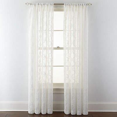 ROYAL VELVET Royal Velvet Lillian Embroidered Sheer Rod-Pocket Curtain Panel