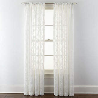 Royal Velvet Lillian Embroidered Sheer Rod-Pocket Curtain Panel