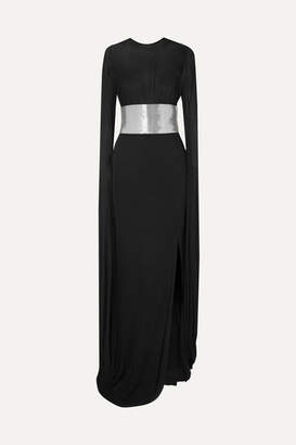 Tom Ford Cape-effect Belted Jersey Gown - Black