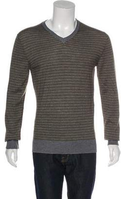 Dolce & Gabbana Striped Knitted V-Neck Sweater