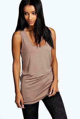 boohoo NEW Womens Basic Racer Back Longline Vest in Polyester