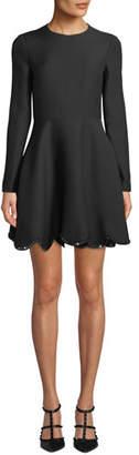 Valentino Long Sleeve Rockstud Scalloped-Hem Flare Dress
