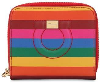 Salvatore Ferragamo Gancino Small Rainbow Leather Wallet