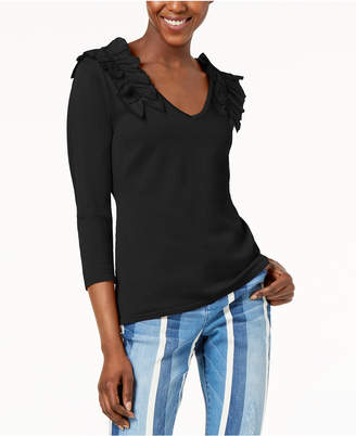 INC International Concepts I.n.c. Ruffled V-Neck Sweater, Created for Macy's