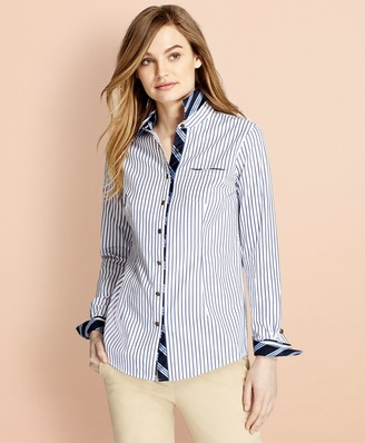 Brooks Brothers BB#1-Trimmed Nine-to-Nine Striped Stretch-Cotton Poplin Shirt