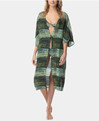 e7e6f6d126 Vince Camuto Midnight Waves Printed Midi Kimono Cover-Up Women Swimsuit