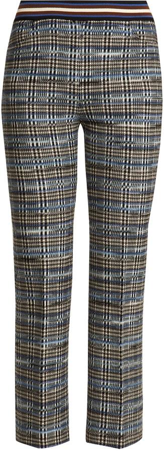MISSONI Slim-leg checked wool-blend knit cropped trousers