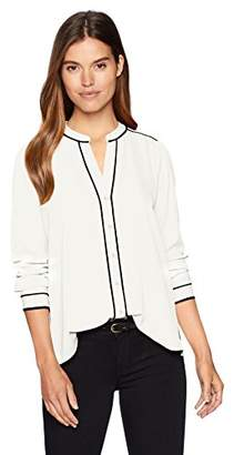 Calvin Klein Women's Long Sleeve Blouse with Piping