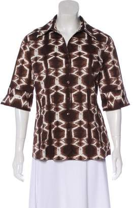 Lafayette 148 Printed Short Sleeve Top