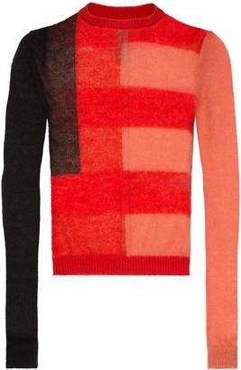 Rick Owens semi-sheer colour-block jumper